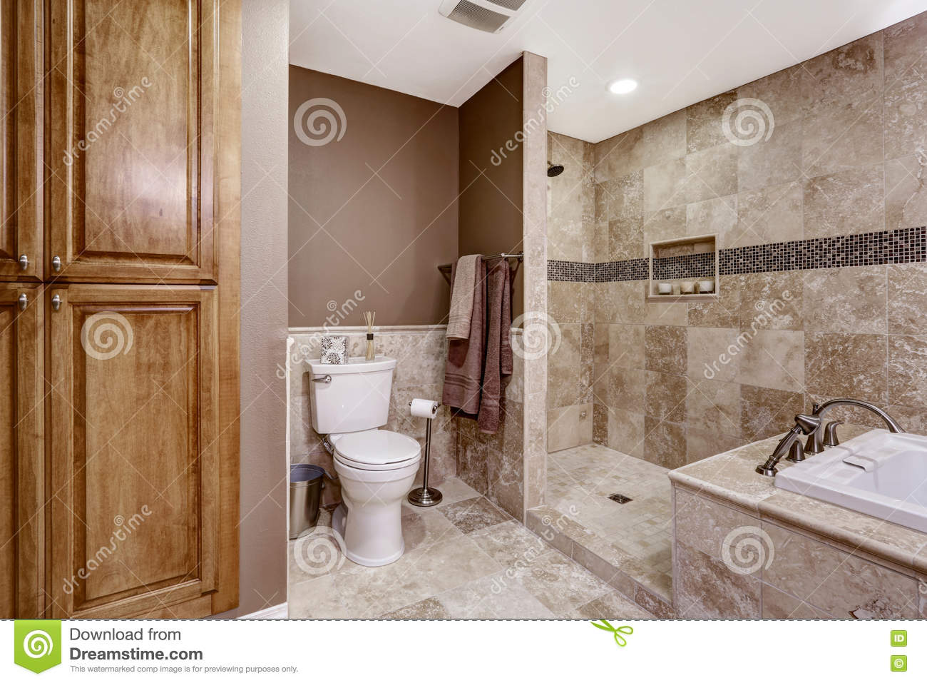 Empty Bathroom Interior. Light Brown Tile, Bath Tub And Toilet Stock ...
