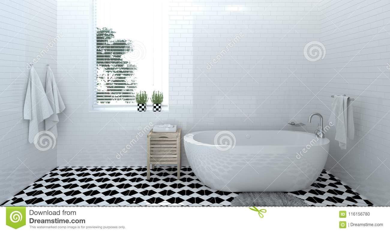 Empty Bathroom Interior Toilet Shower Modern Home Design 3d Rendering For Copy Space Background White Tile Bathroom Stock Illustration Illustration Of Contemporary Beautiful 116156780