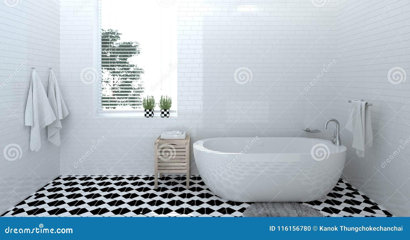 Empty bathroom interior,toilet,shower,modern home design 3d rendering for copy space background white tile bathroom