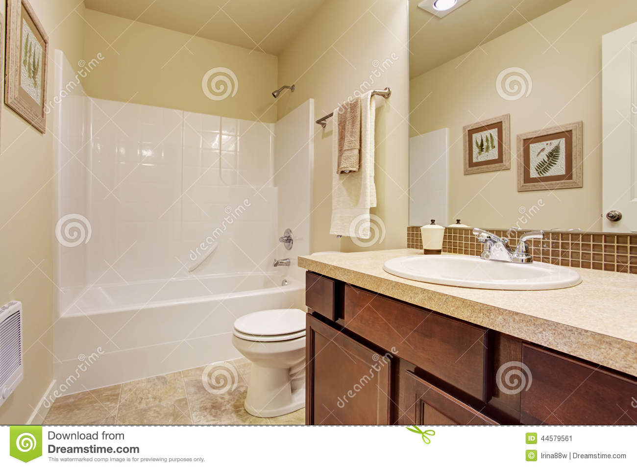 empty bathroom in soft ivory color with tile wall trim stock image image of architect bath. Black Bedroom Furniture Sets. Home Design Ideas