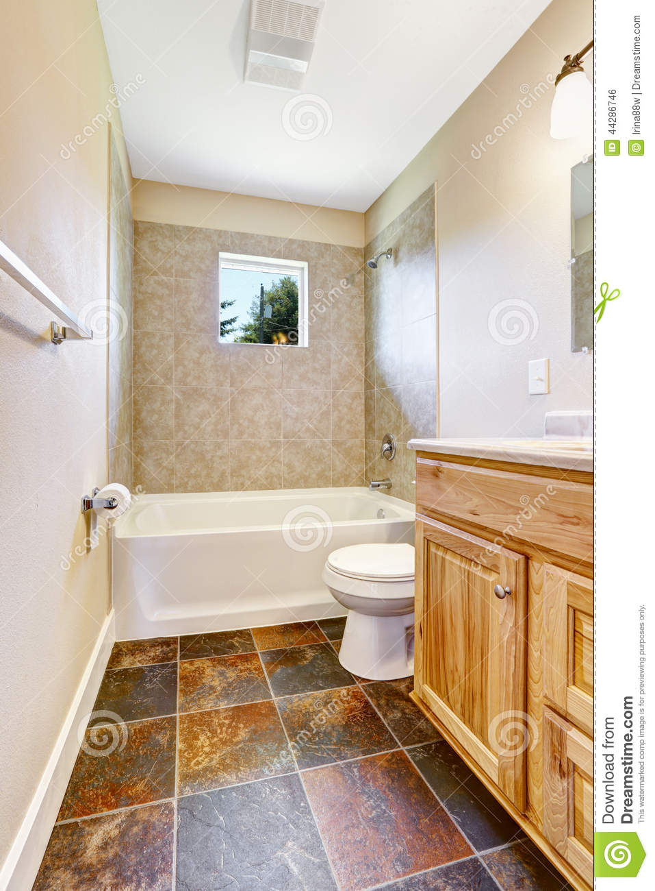 empty bathroom with tile floor royalty free stock photo