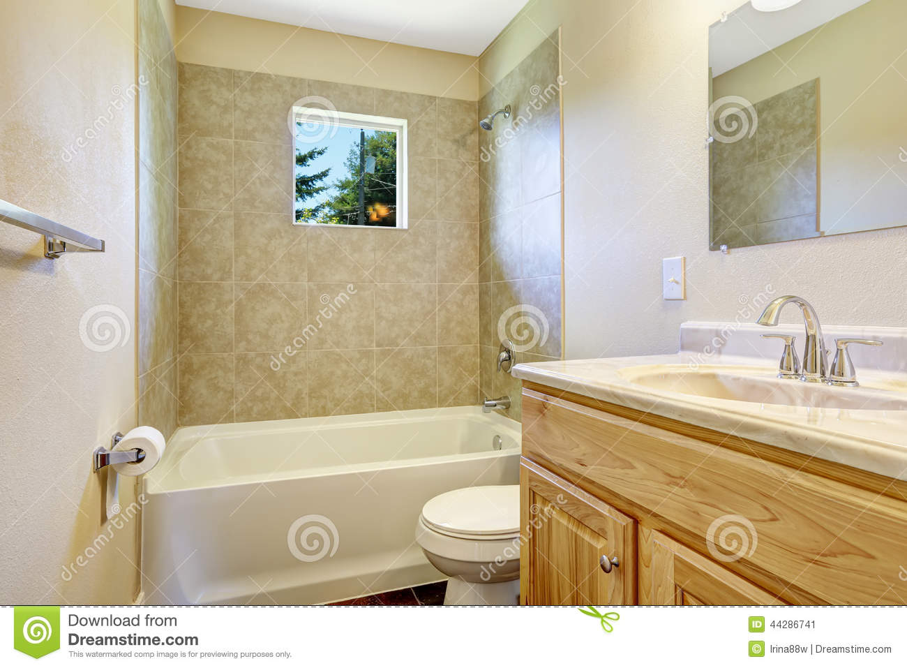 Empty Bathroom With Tile Wall Trim And Window Stock Image - Image of ...