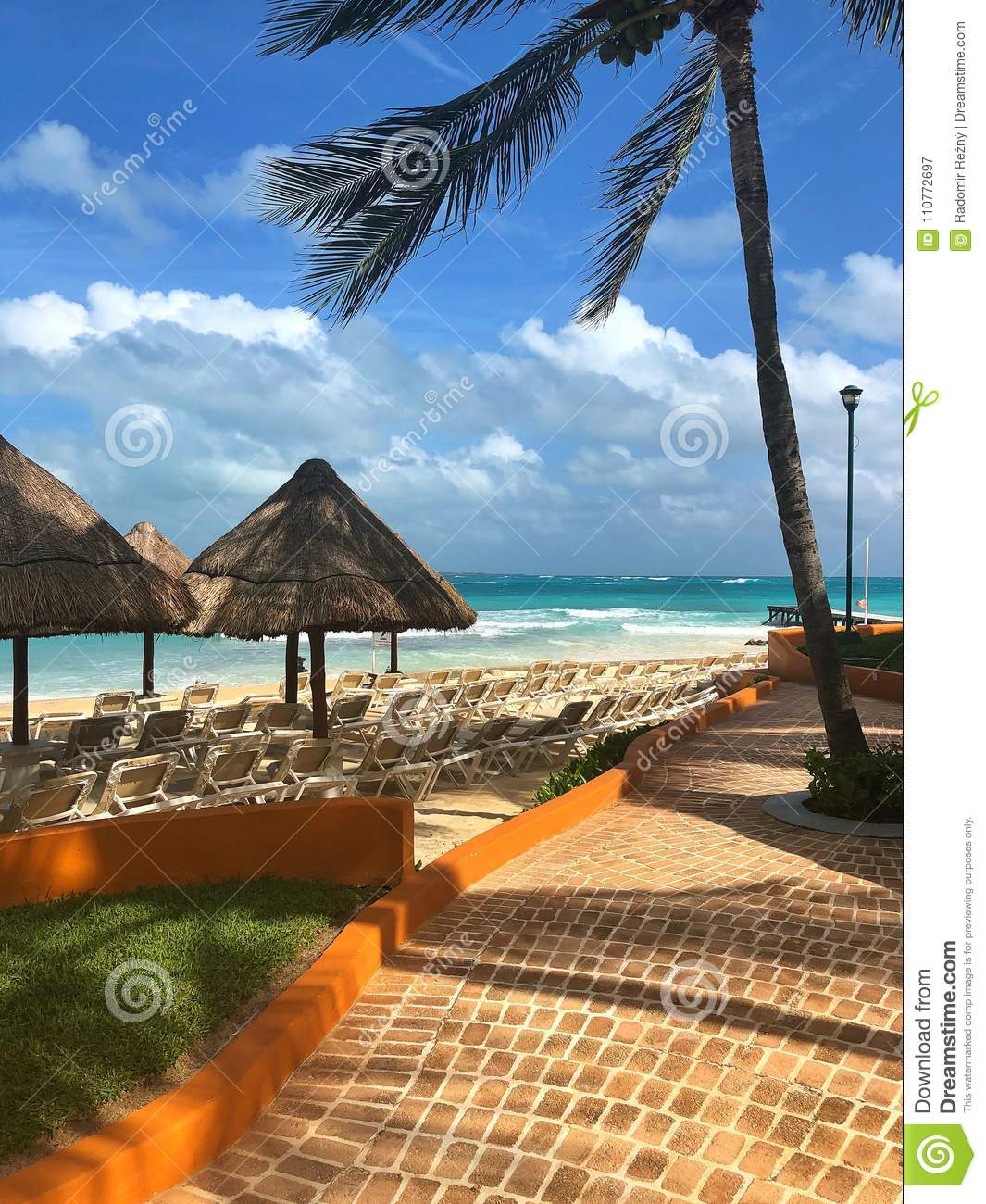 On The Empty Beach Cancun Mexico Stock Image Image Of