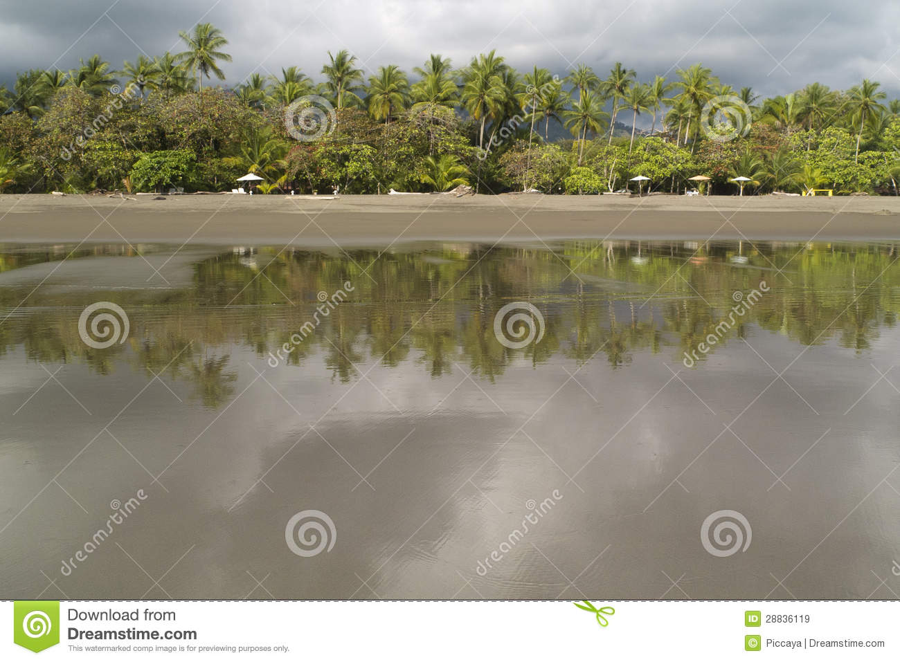 Empty Beach in Matapalo, Costa Rica