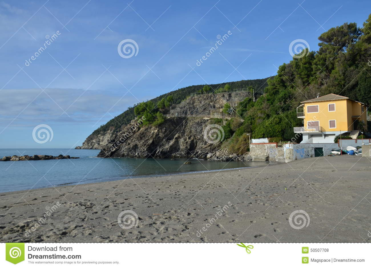 Empty Beach Of Moneglia In Italy, Liguria  Stock Photo
