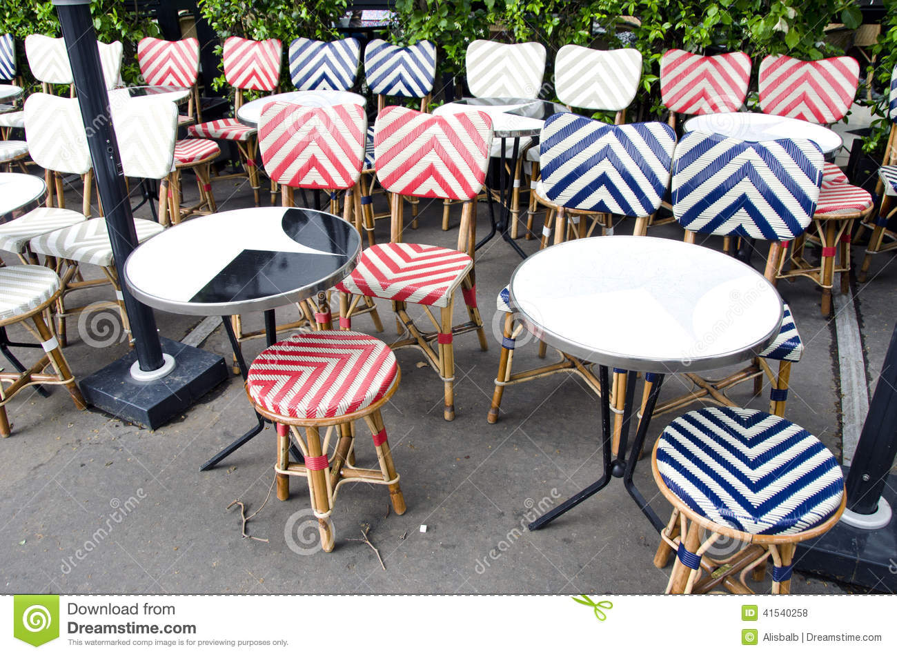 Empty Beautiful Street Cafe Restaurant Furniture In Paris Stock Photo Image 41540258