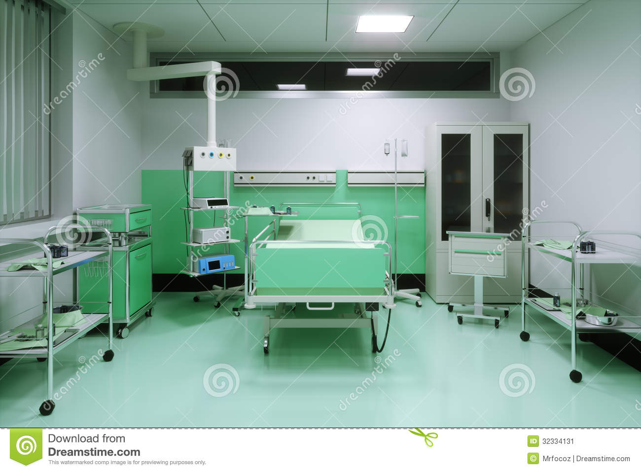 Hospital room pictures from bed view - Empty Bed In A Hospital Room Stock Image