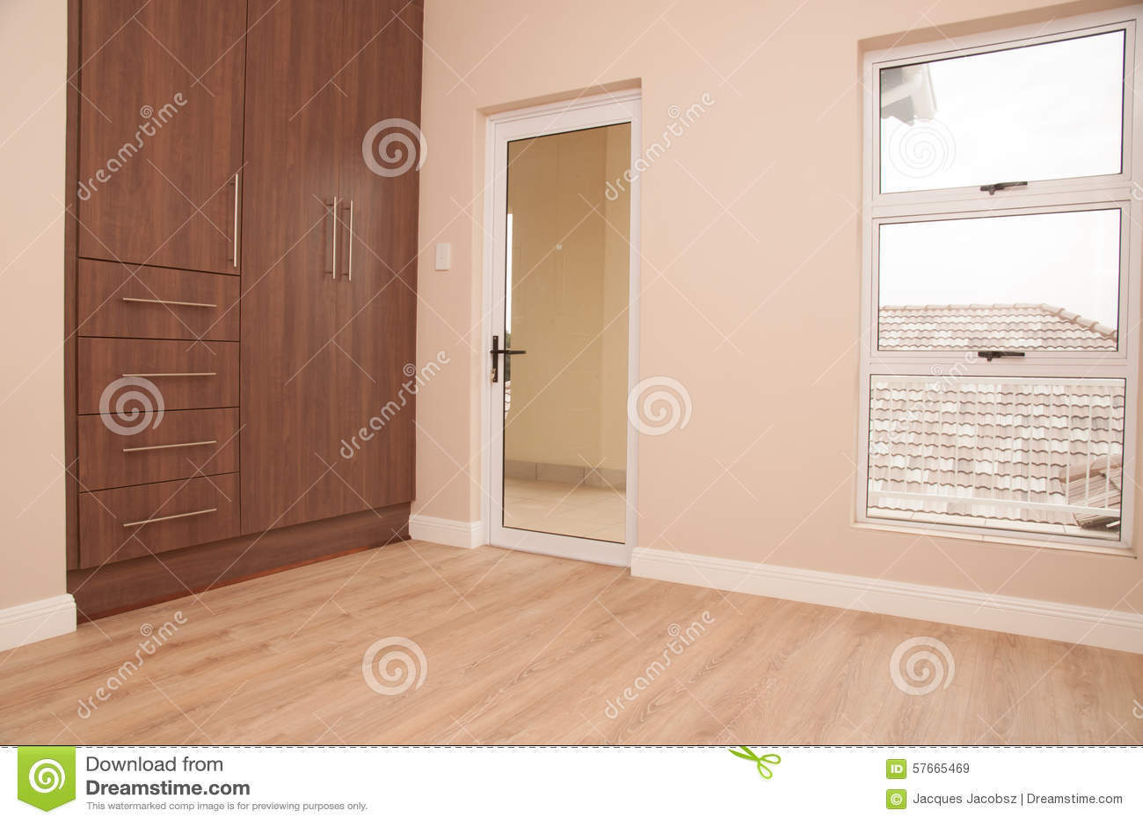 Empty Bedroom With Balcony Stock Image Image Of Bedroom 57665469