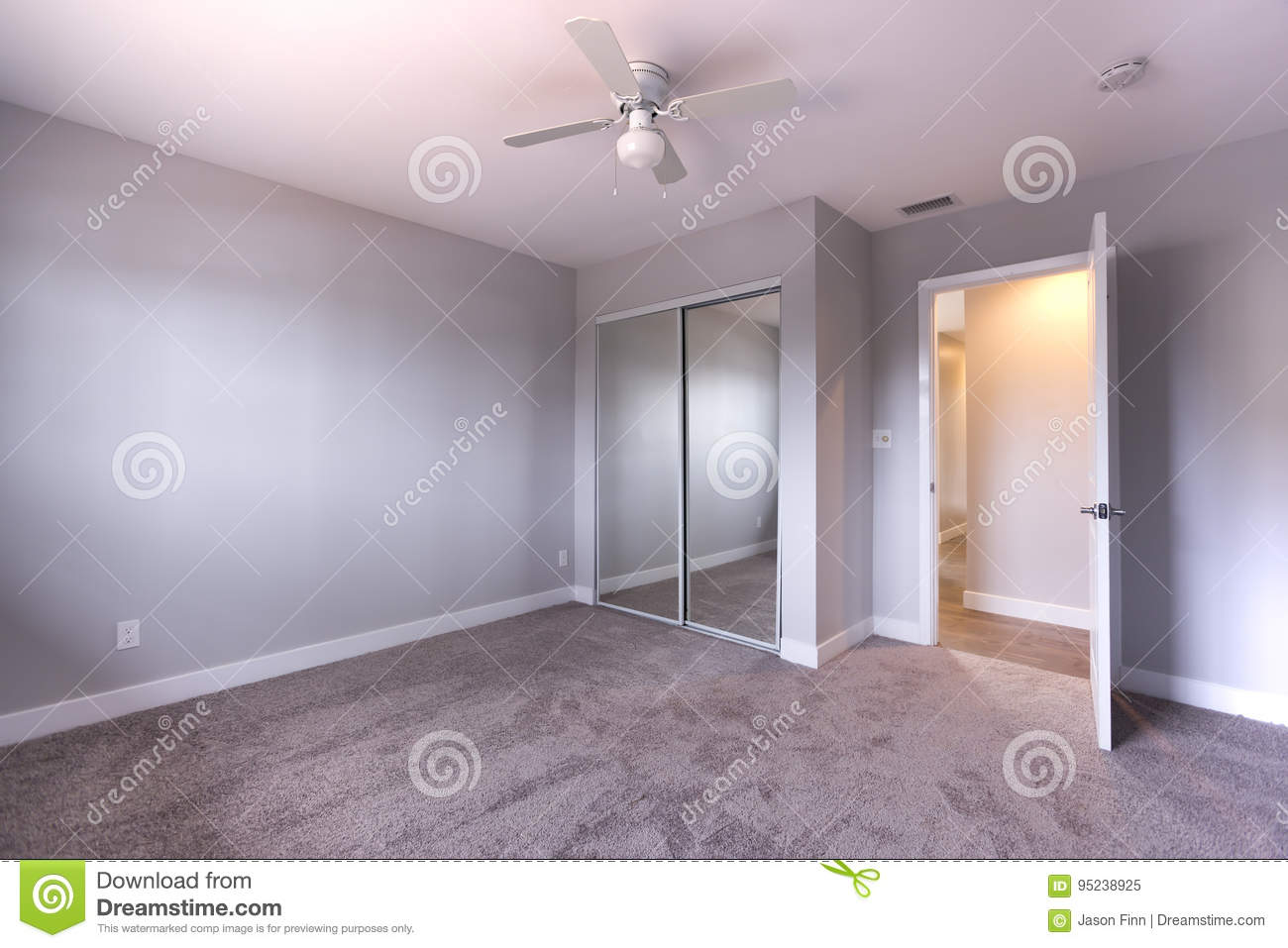 Empty Bedroom With Blue Walls And Carpet Stock Image Image Of Colors Model 95238925