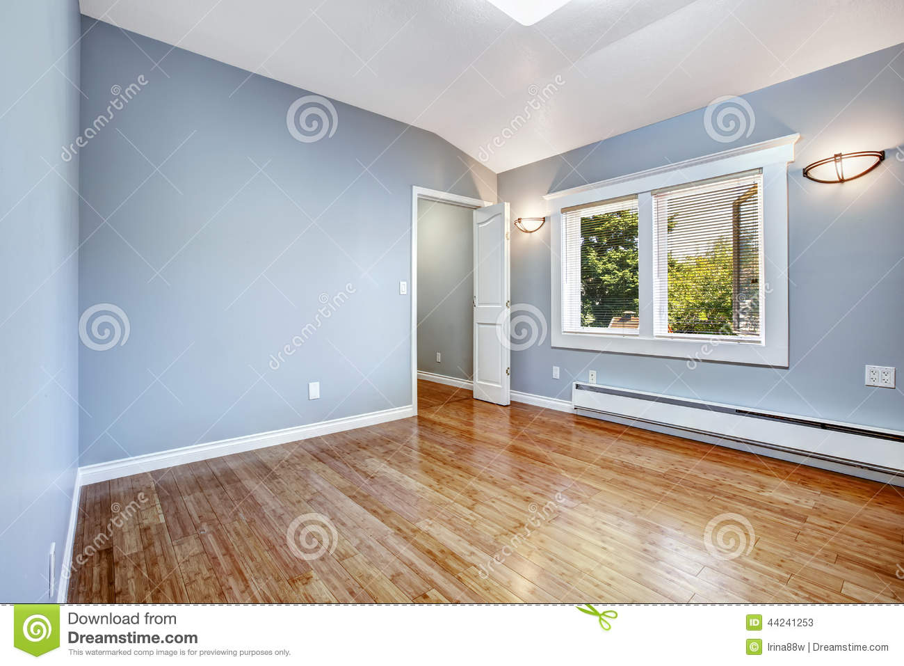Empty Bedroom With Light Blue Walls Stock Photo - Image: 44241253