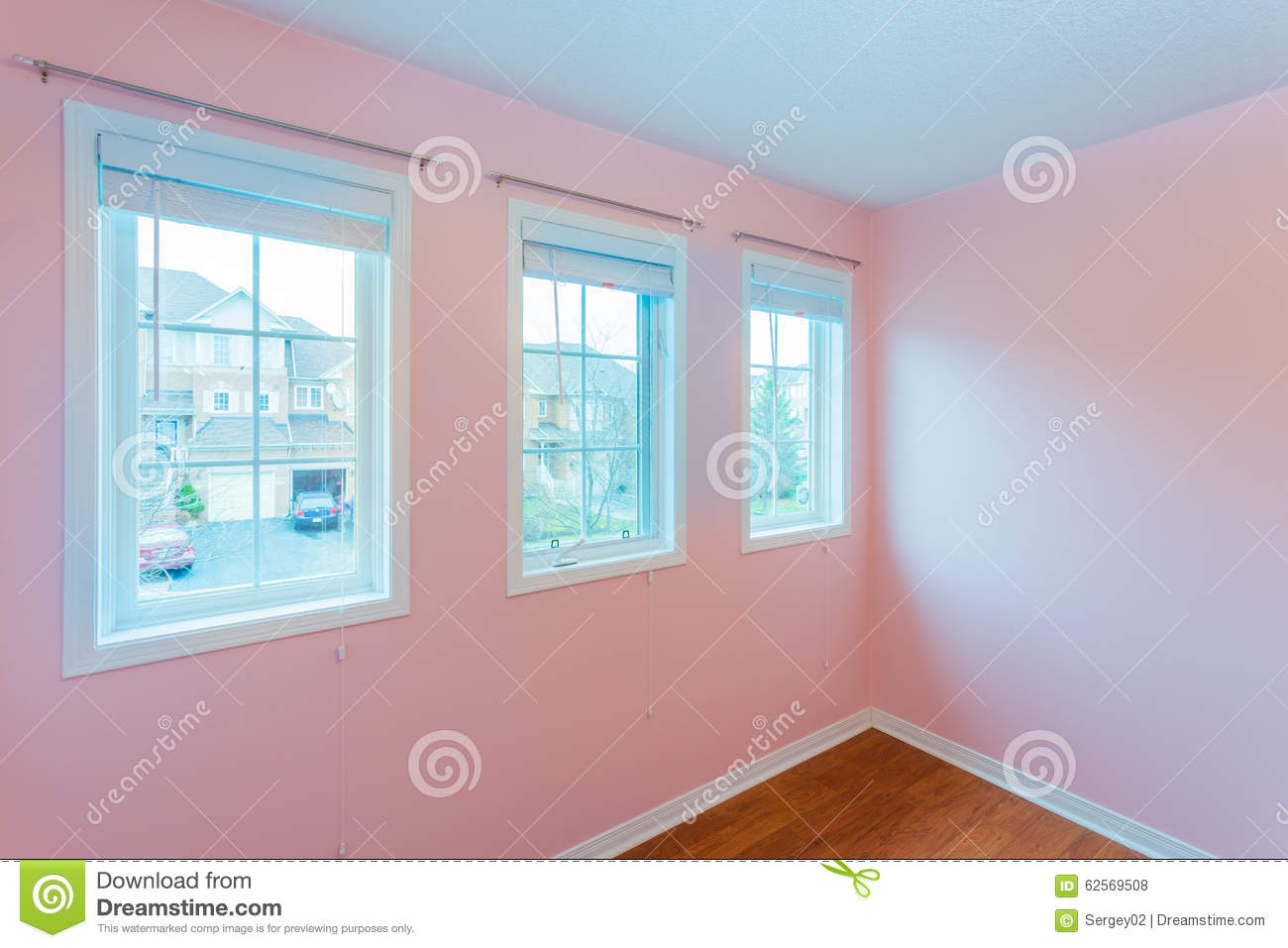 Empty Bedroom In Pink Color Stock Photo - Image of clean, interior ...