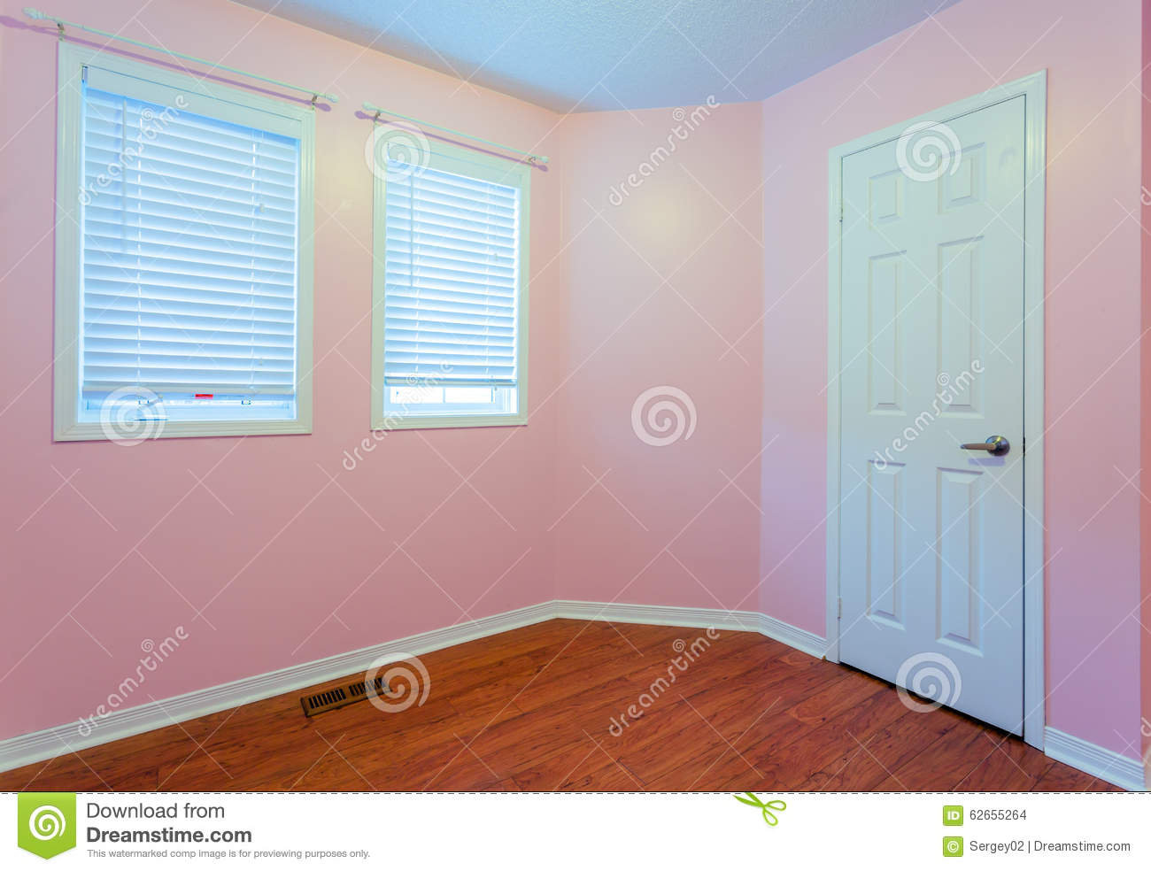 empty bedroom in pink color stock photo image 62655264. Black Bedroom Furniture Sets. Home Design Ideas