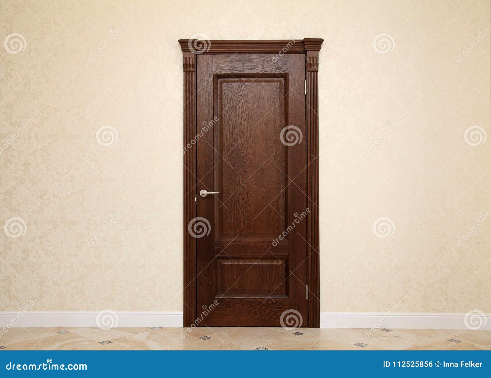 Beige room interior with brown wooden door