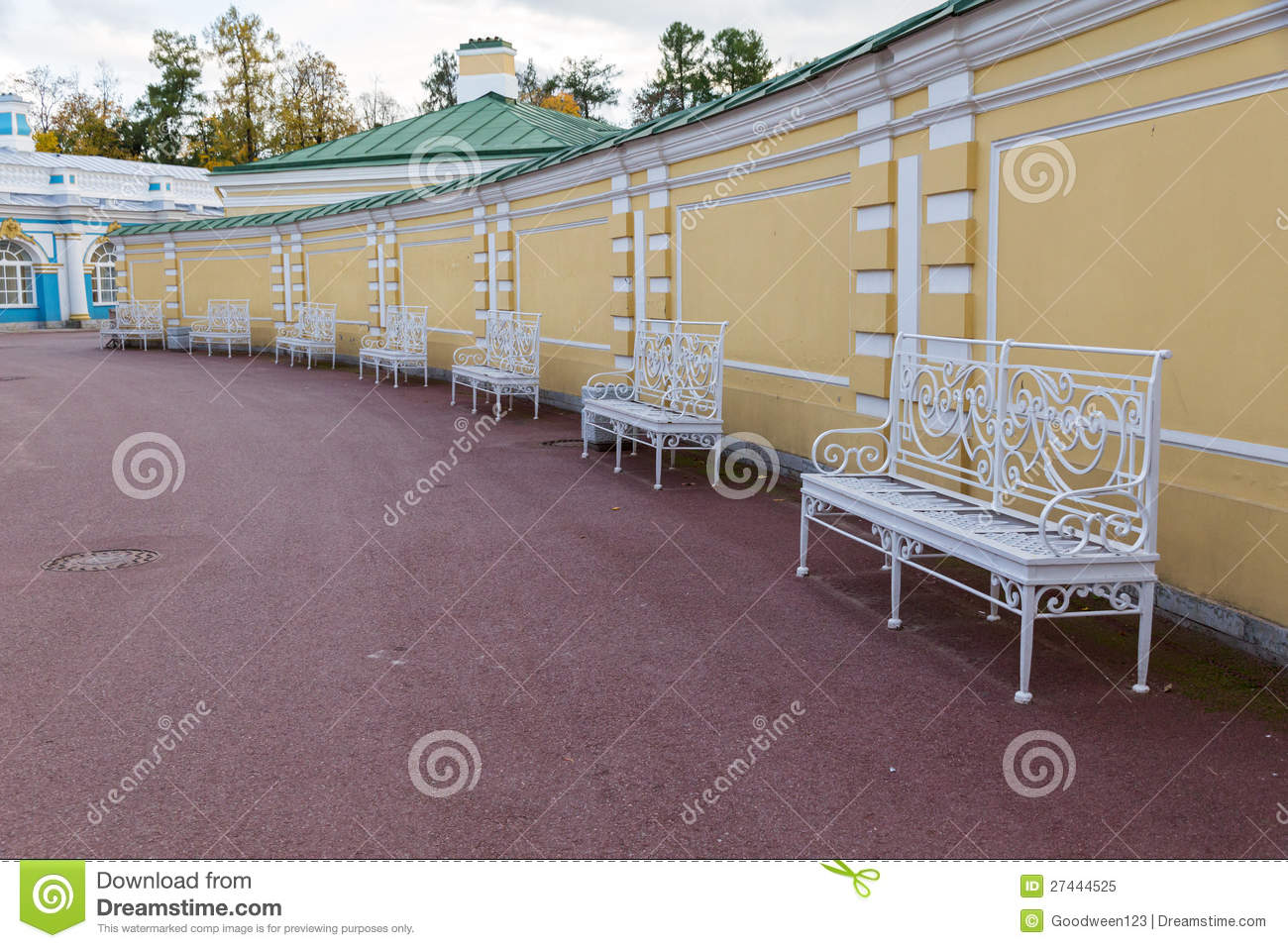 Empty Benches On A Sidewalk Royalty Free Stock Photo - Image: 27444525