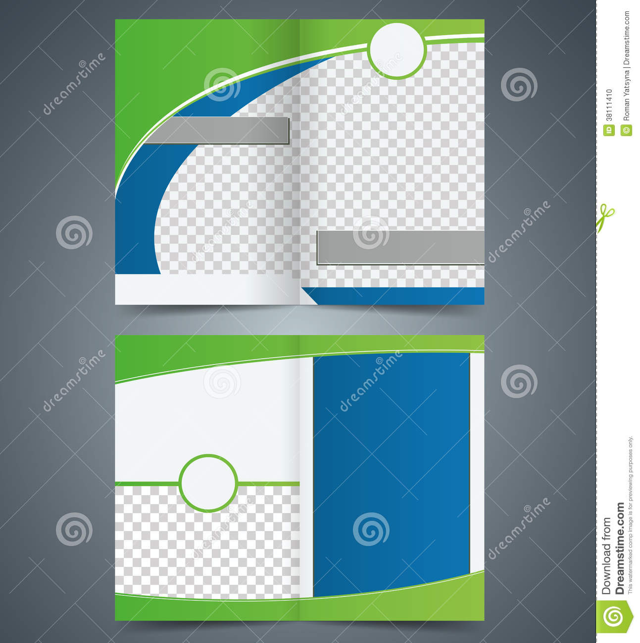 Empty bifold brochure template design with green c stock for Booklet brochure template
