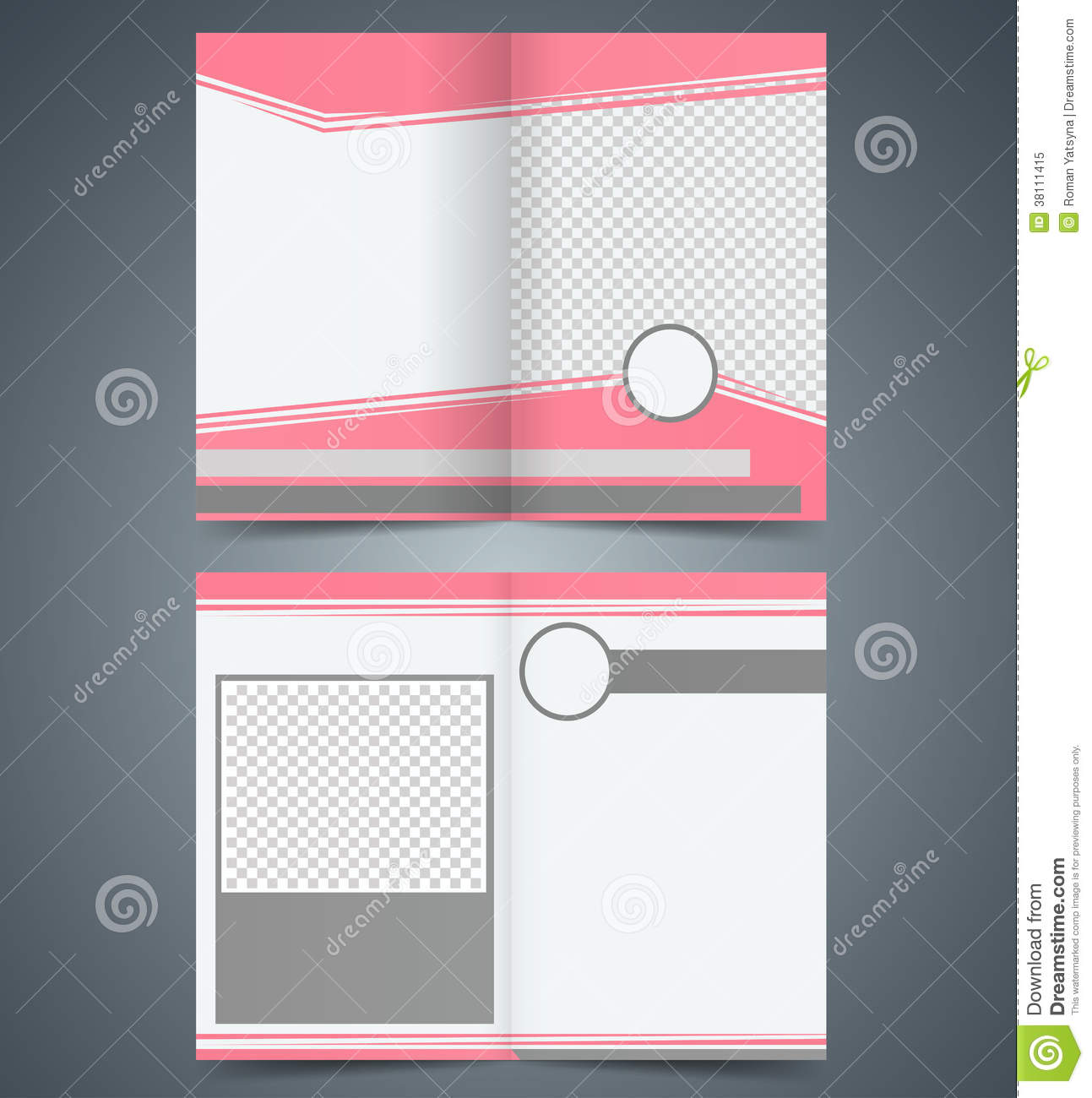 Empty bifold brochure template design with pink co stock for Booklet brochure template