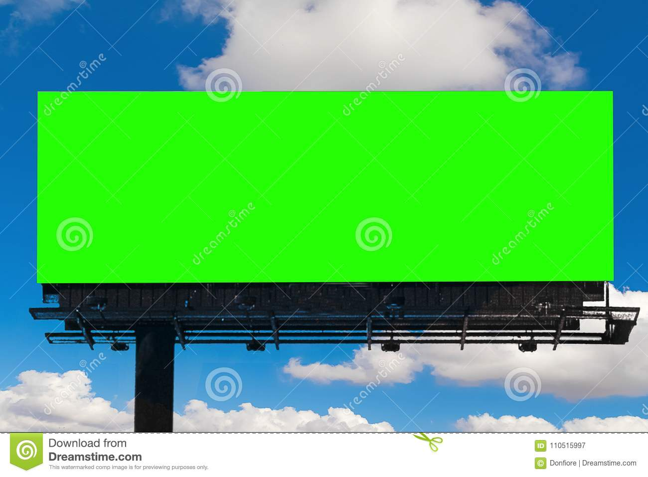 Empty billboard with chroma key green screen, on blue sky with c