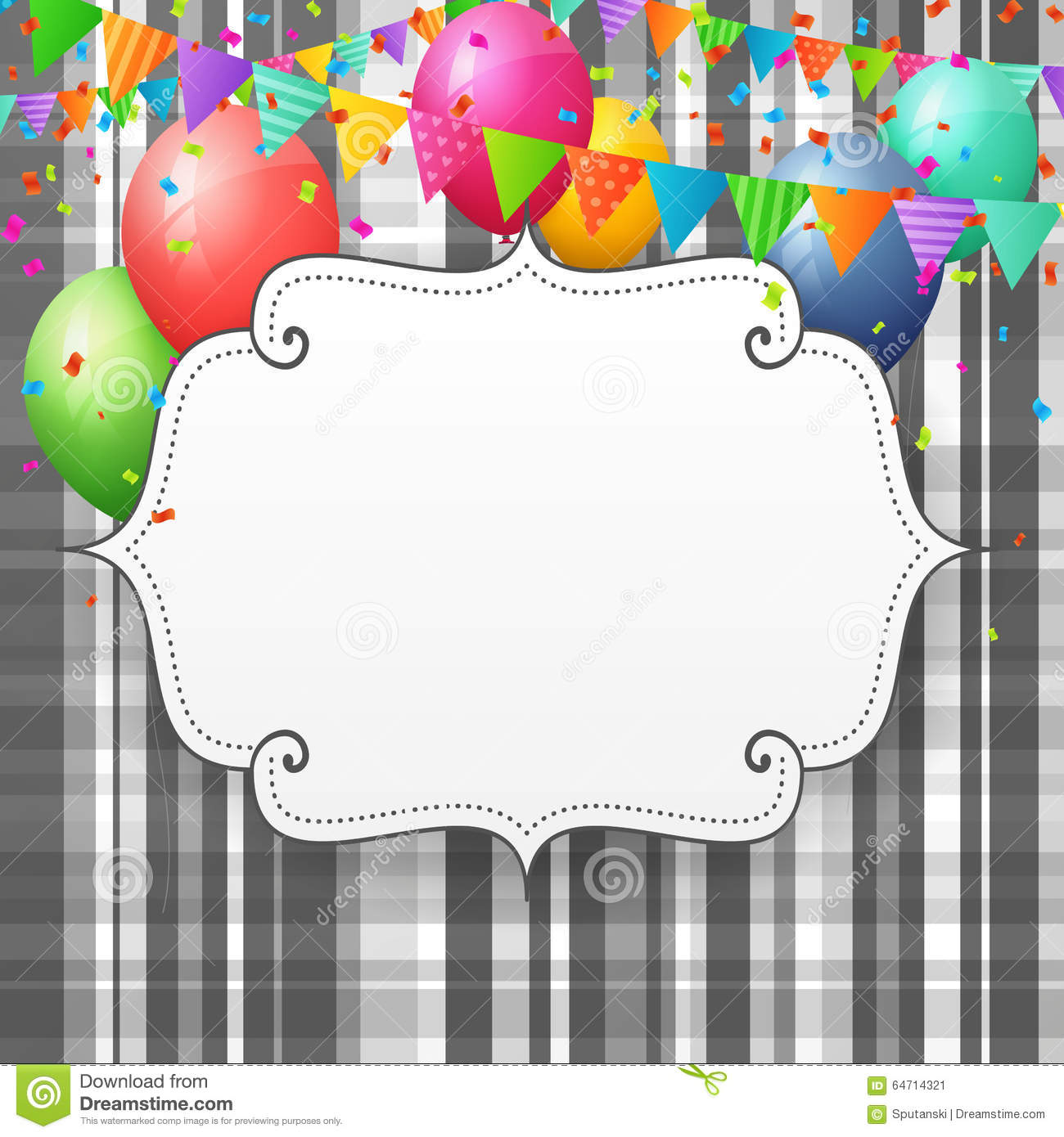 Empty Birthday greeting card with balloons and flags