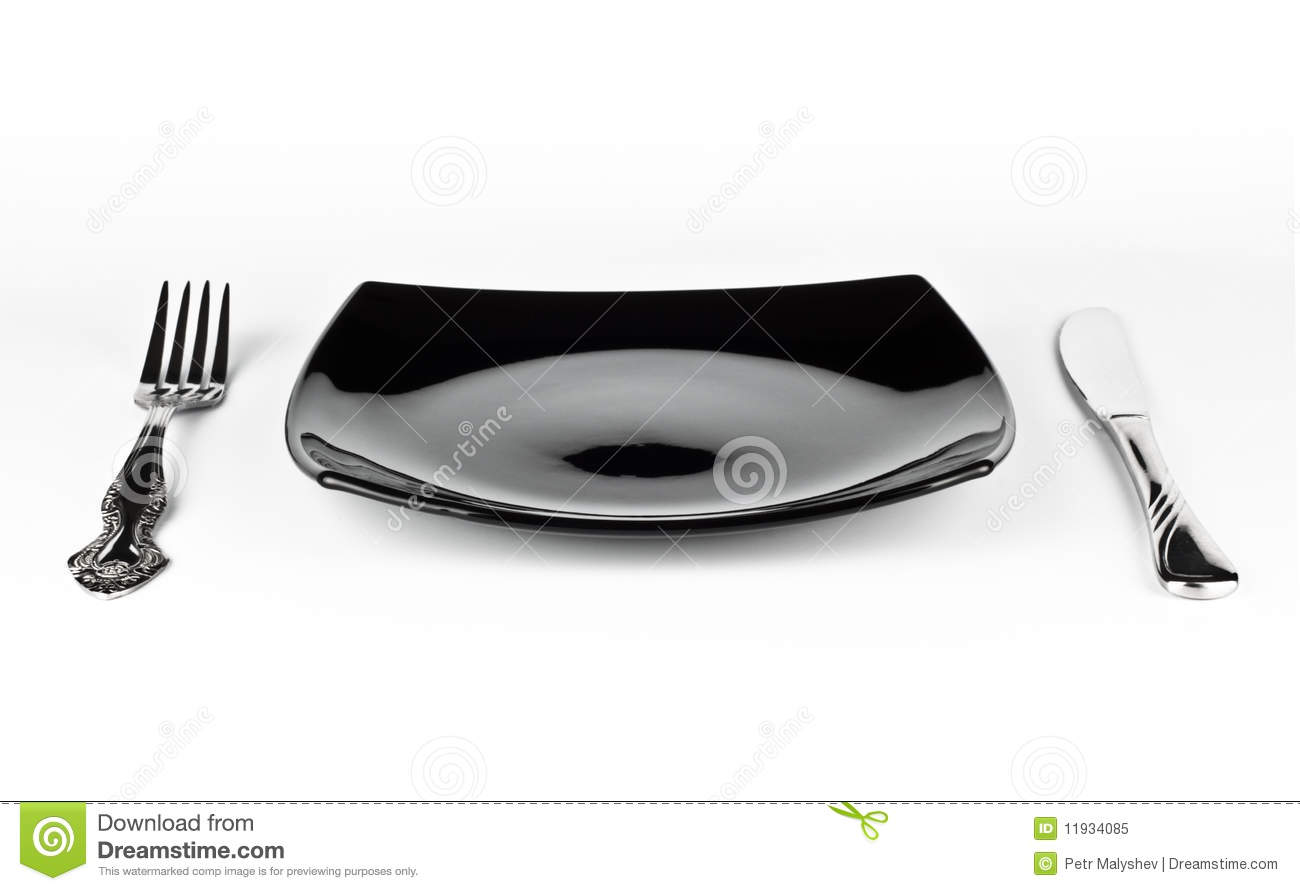 Empty black dish knife and fork