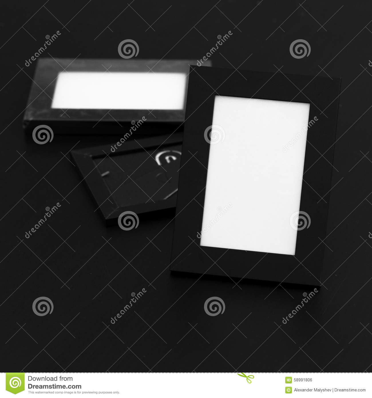 Empty Black Photo Frames On The Black Wooden Table Background. Stock ...