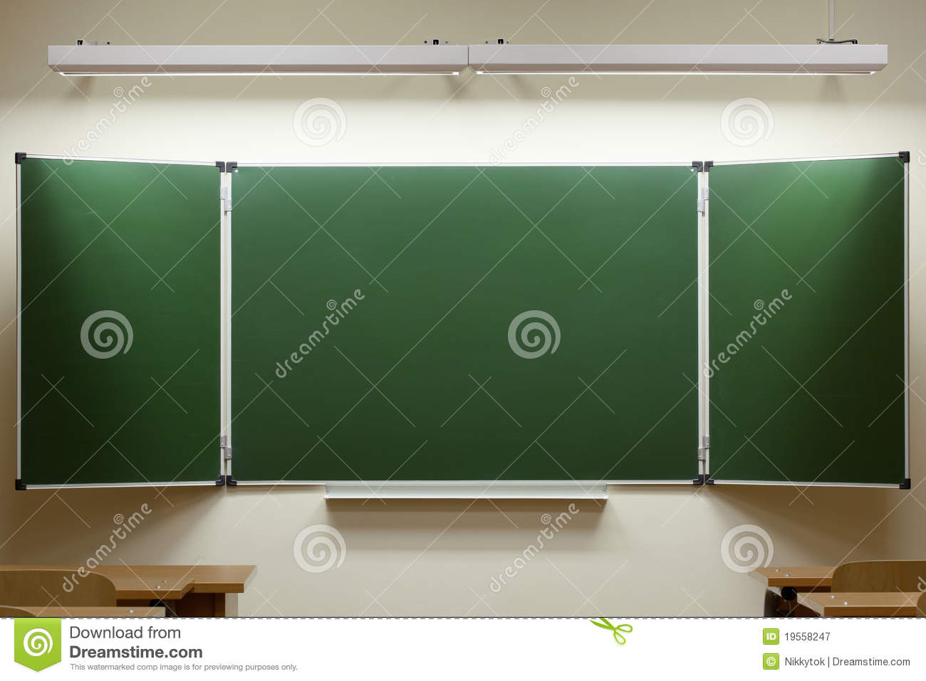 Empty Blackboard In The Classroom Royalty Free Stock