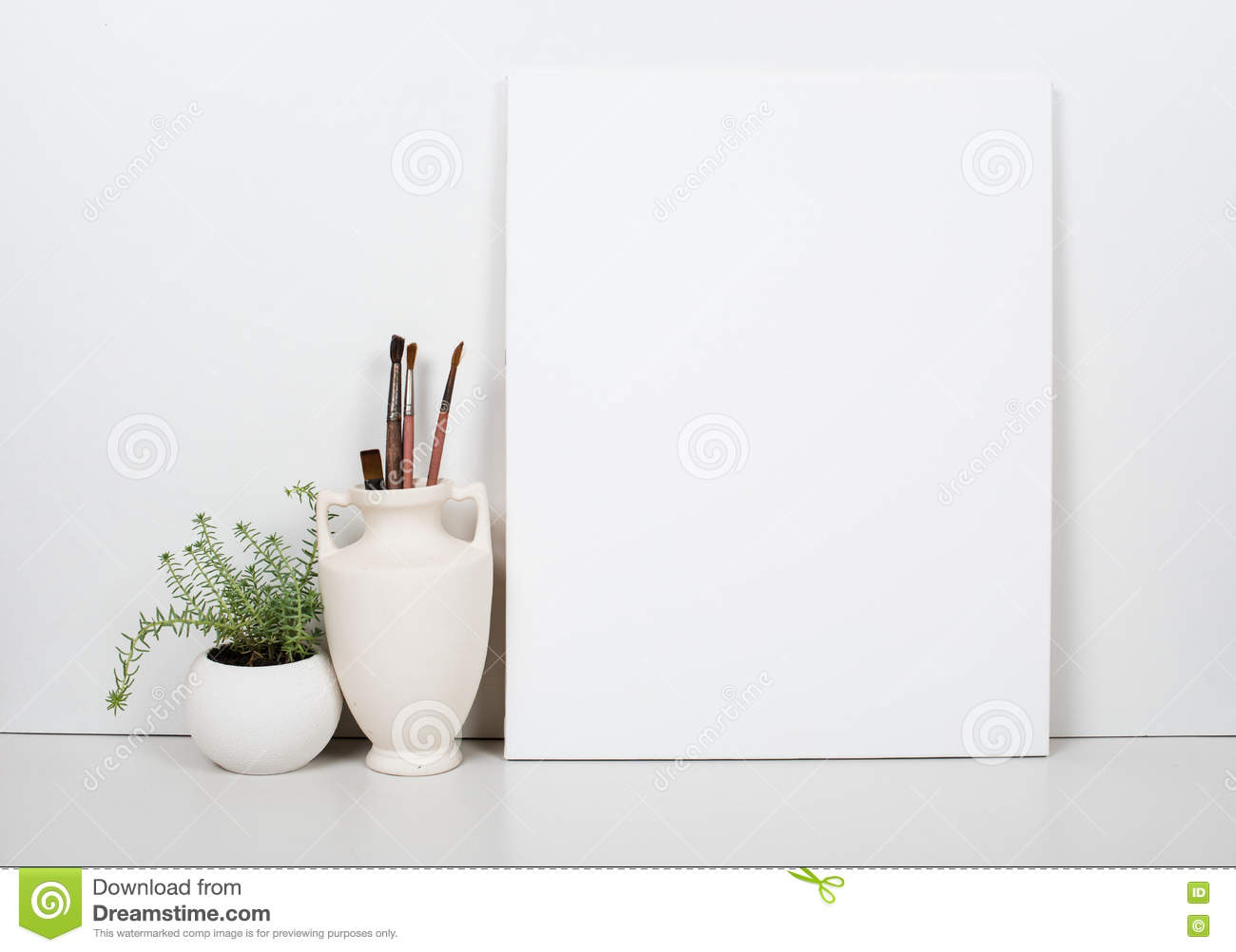 Empty Blank Canvas On A White Background Home Interior Decor Stock