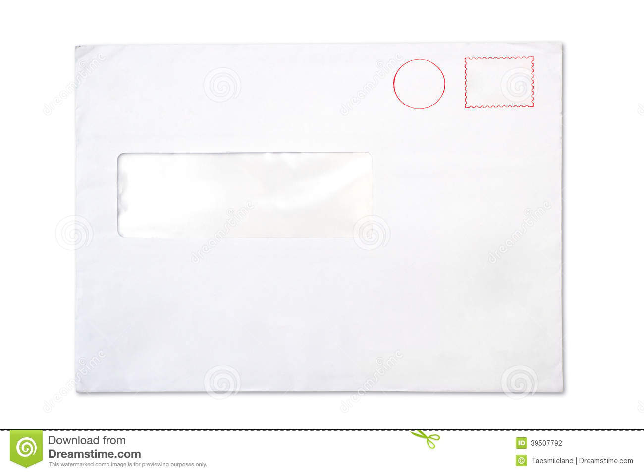 Empty blank Envelope with a window