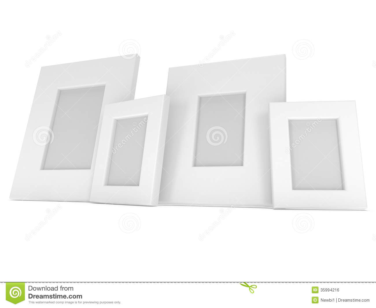 empty blank photo frames on white 3d render royalty free stock image image 35994216. Black Bedroom Furniture Sets. Home Design Ideas