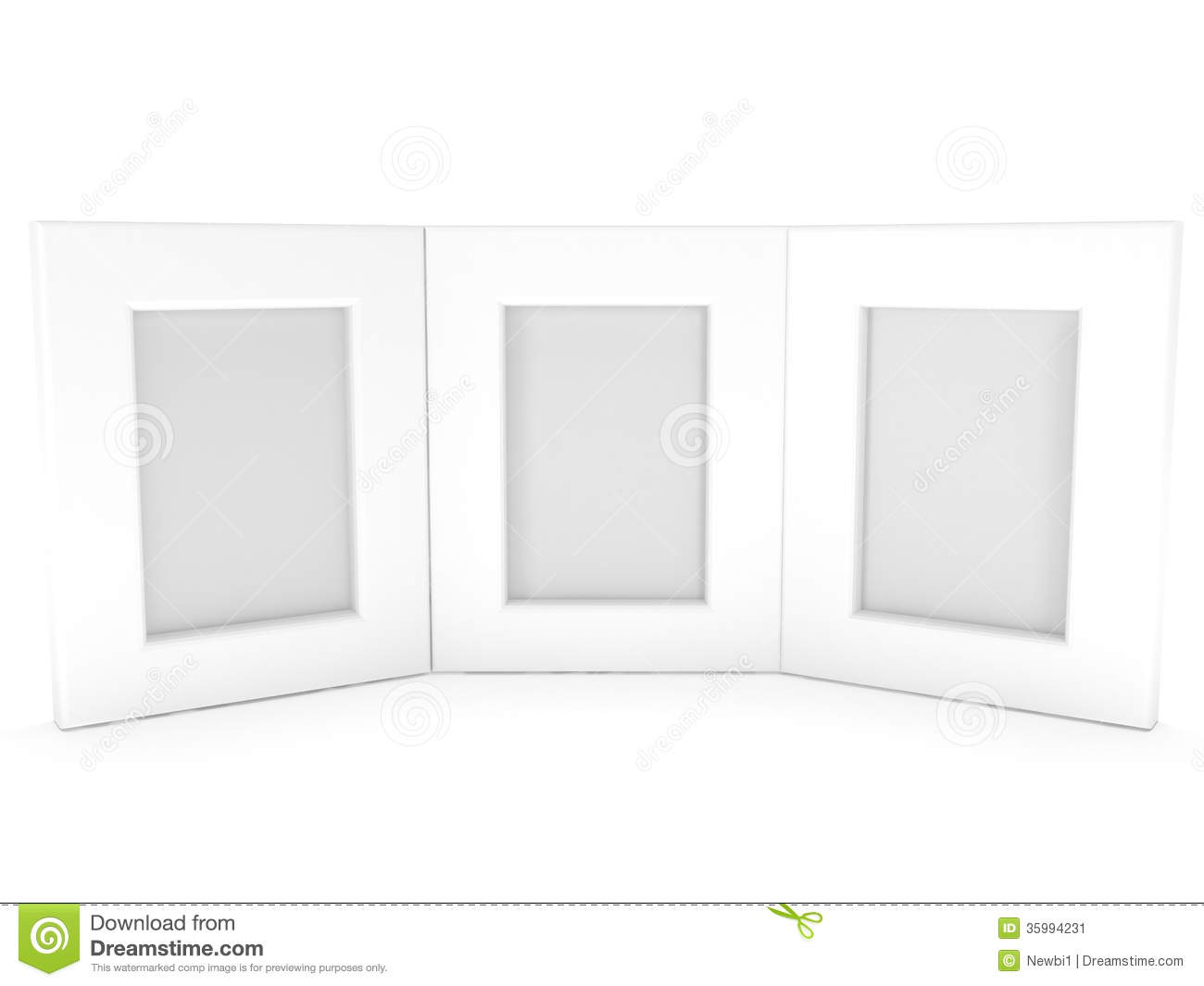 empty blank photo frames on white 3d render. Black Bedroom Furniture Sets. Home Design Ideas