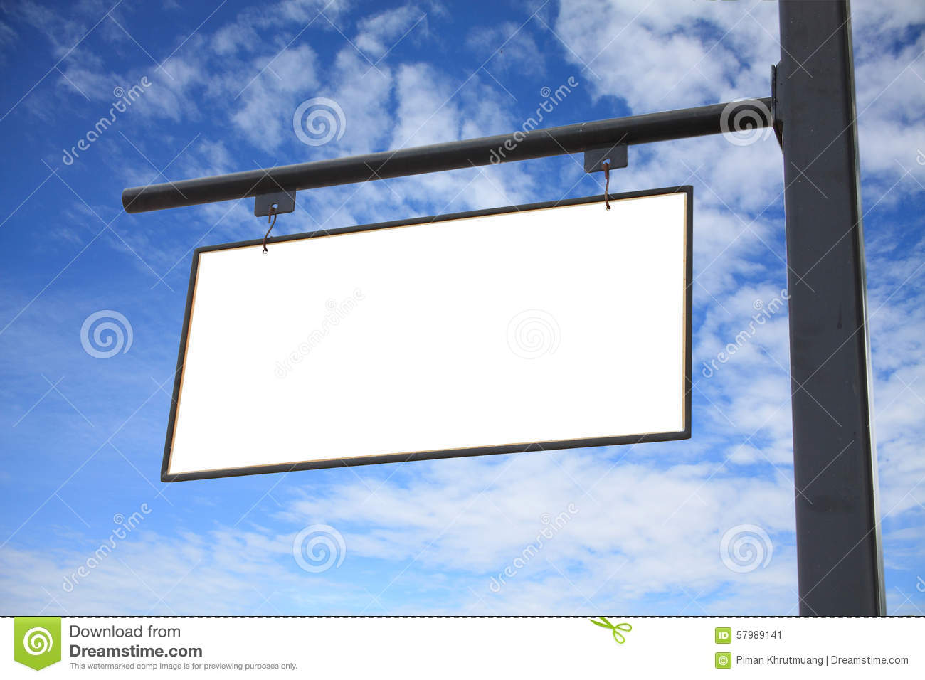 empty blank white sign hanging outdoor stock image image of metal