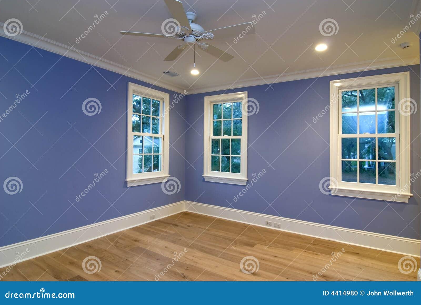 Empty Blue Bedroom Stock Photo Image Of Indoor Construction 4414980