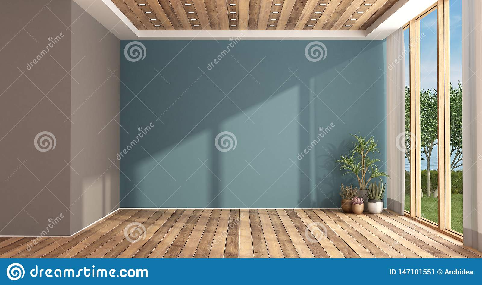 Empty Blue And Brown Living Room Stock Illustration Illustration