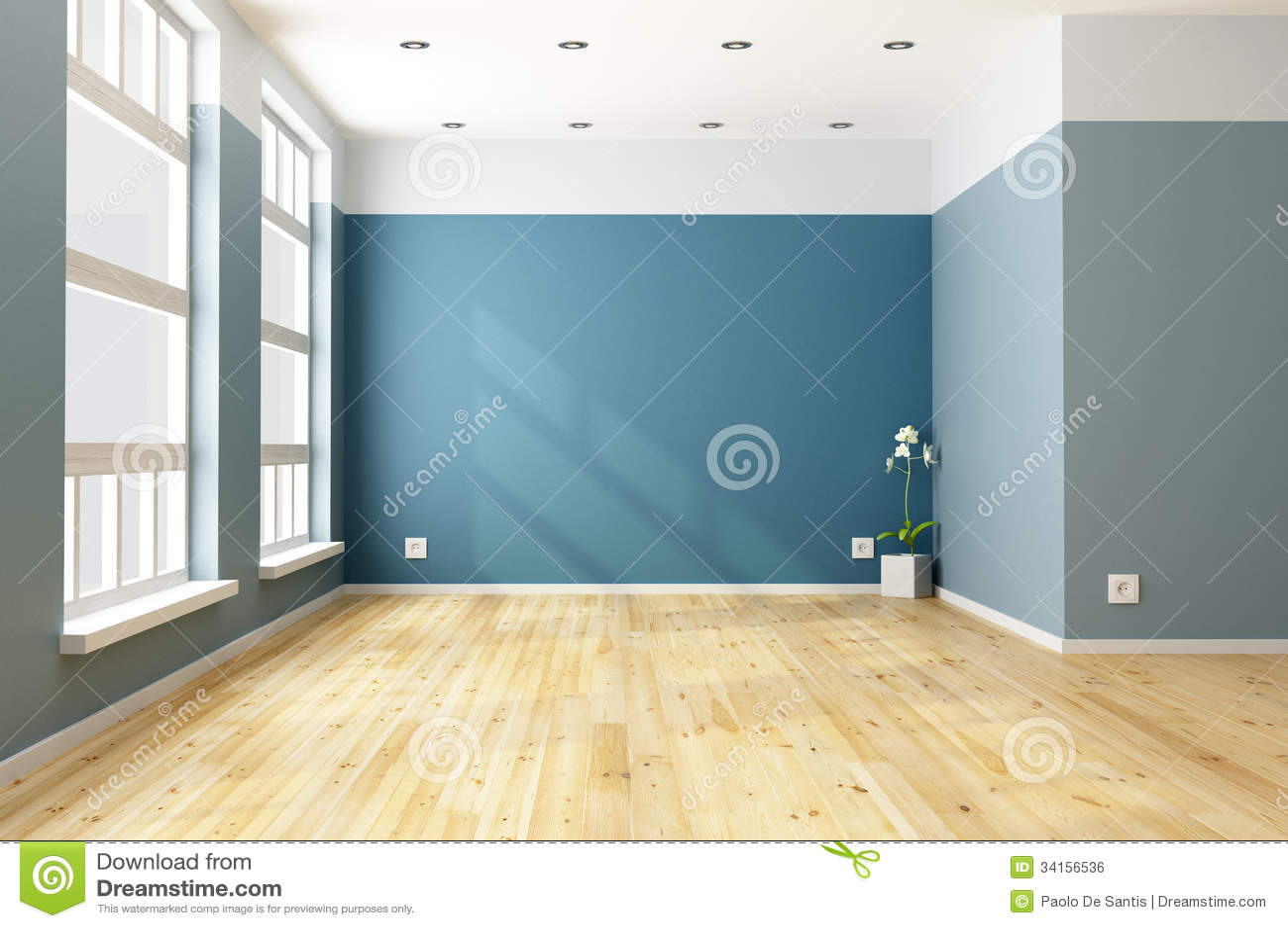 Big empty living room - Empty Blue Living Room Royalty Free Stock Image