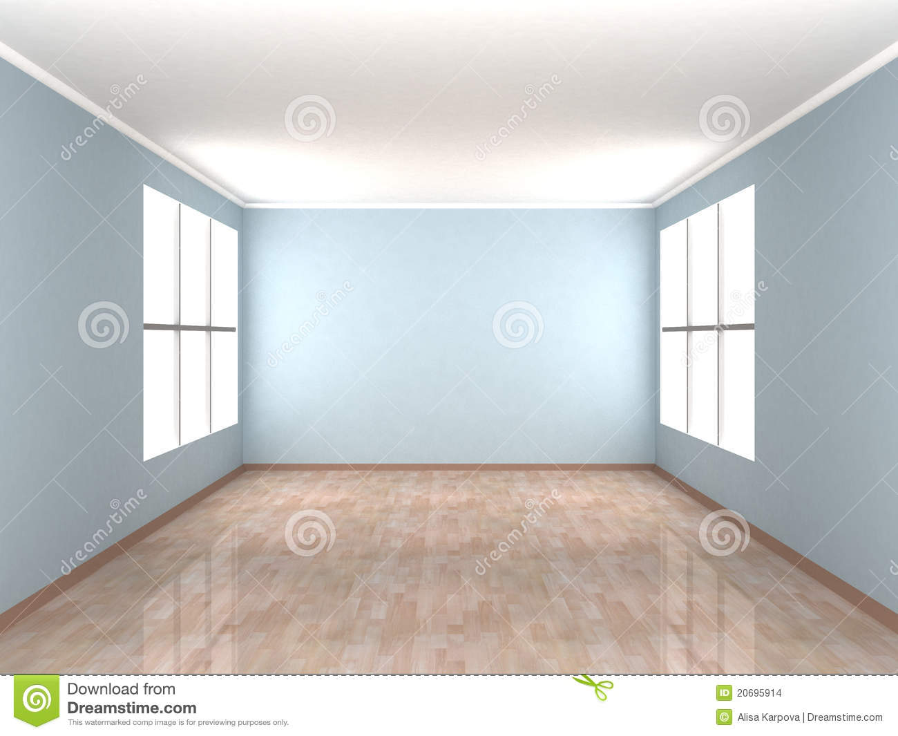 Empty blue room with two windows stock illustration for The blue room