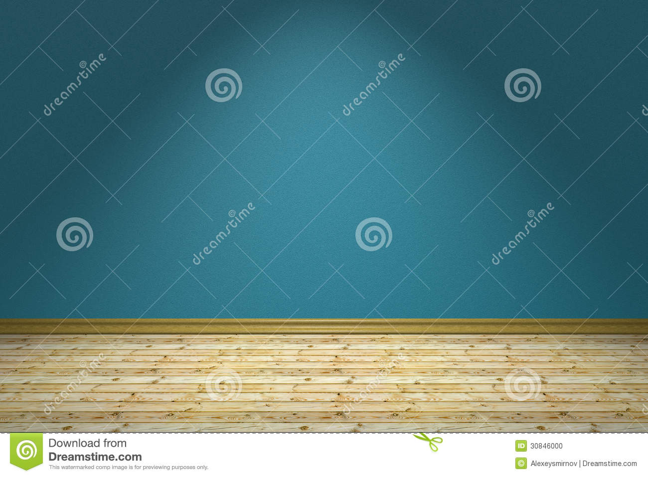 Empty Blue Room And Wooden Floor Under Lamp Stock Illustration ...