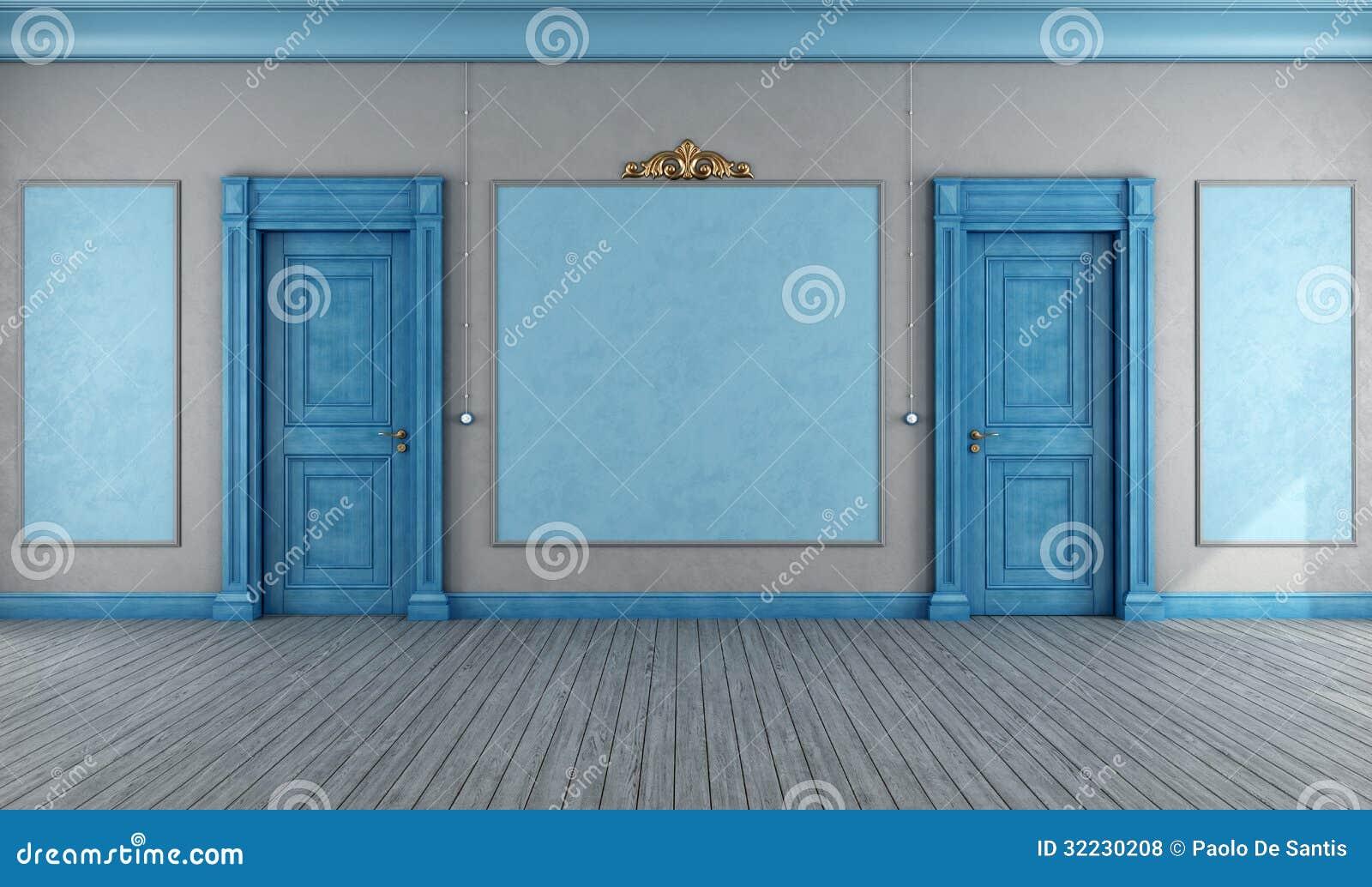 Empty blue vintage interior royalty free stock photos for Vintage internal doors