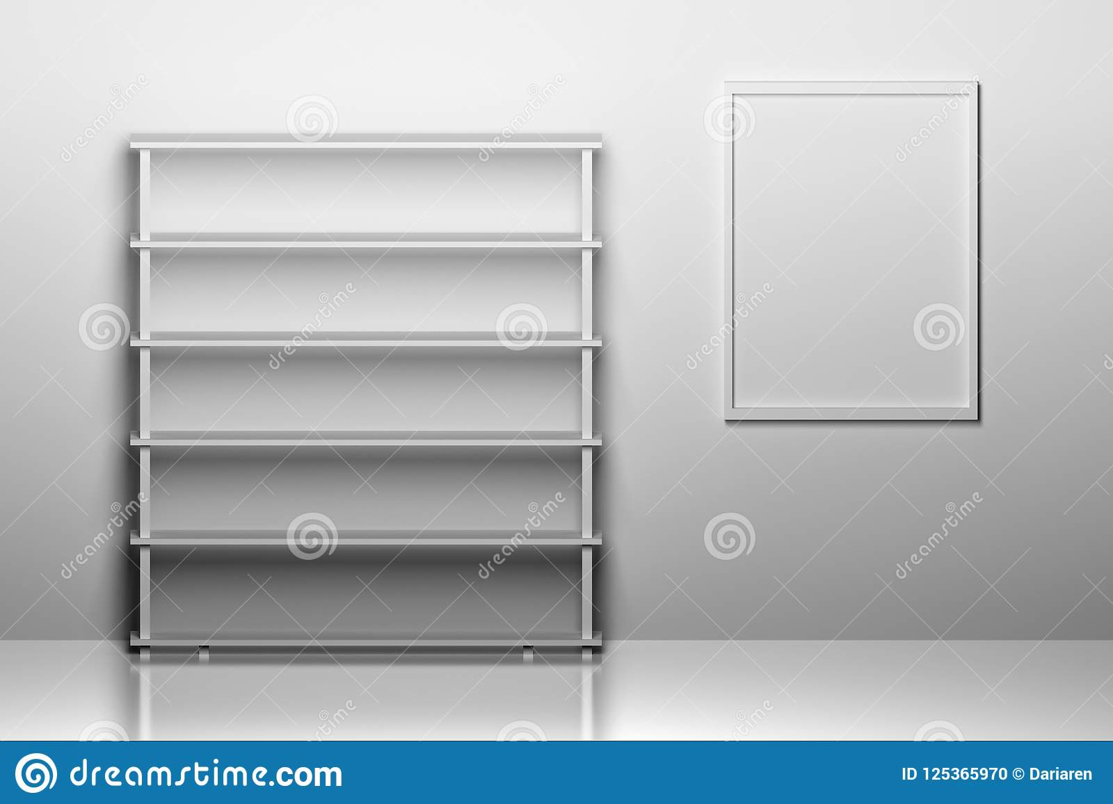 Empty book shelf with a frame for picture.