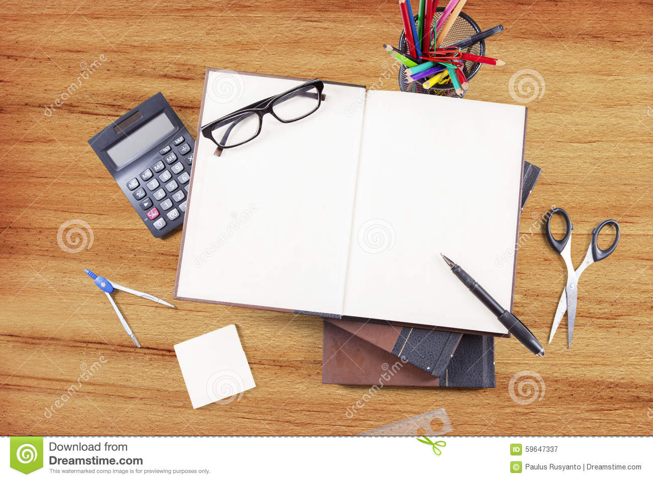 Set The Table Book Empty Book With Stationery On Wood Table Stock Photo Image 59647337
