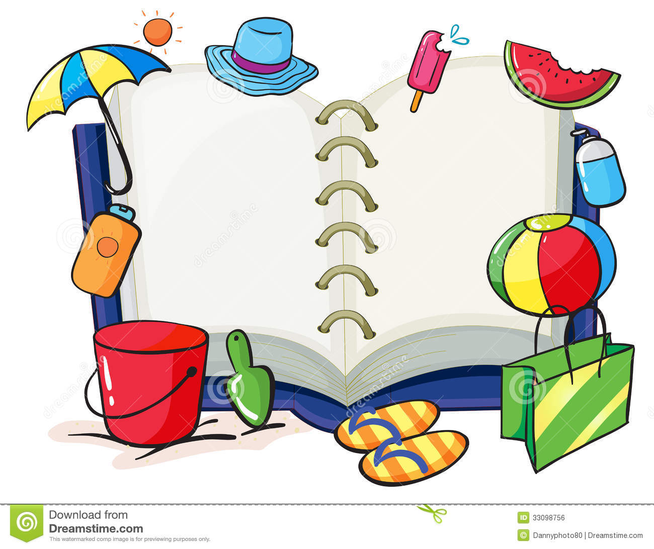 An empty book with the things used during summer royalty for Things that are empty