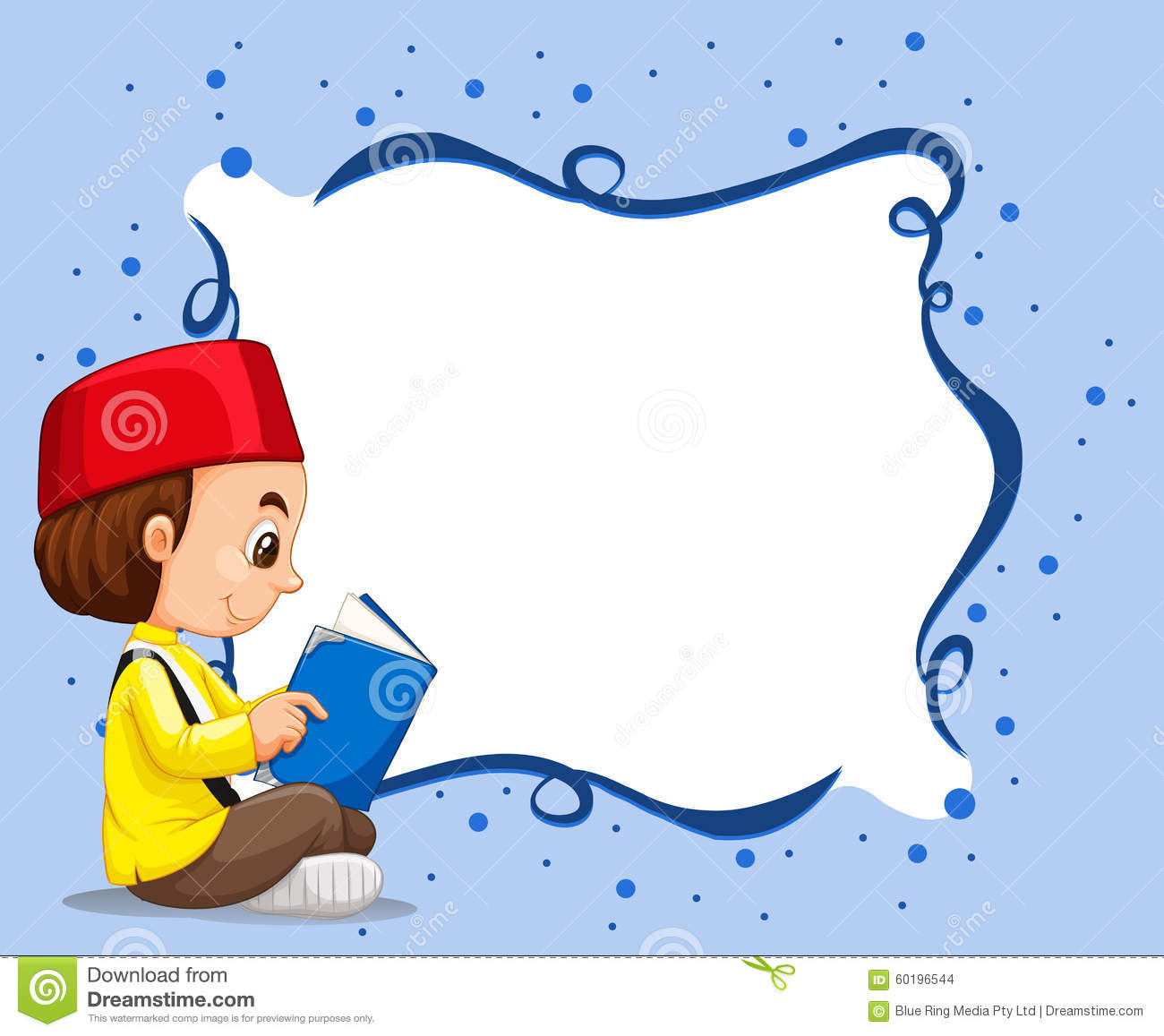Empty border with muslim boy reading background stock vector empty border with muslim boy reading background thecheapjerseys Image collections