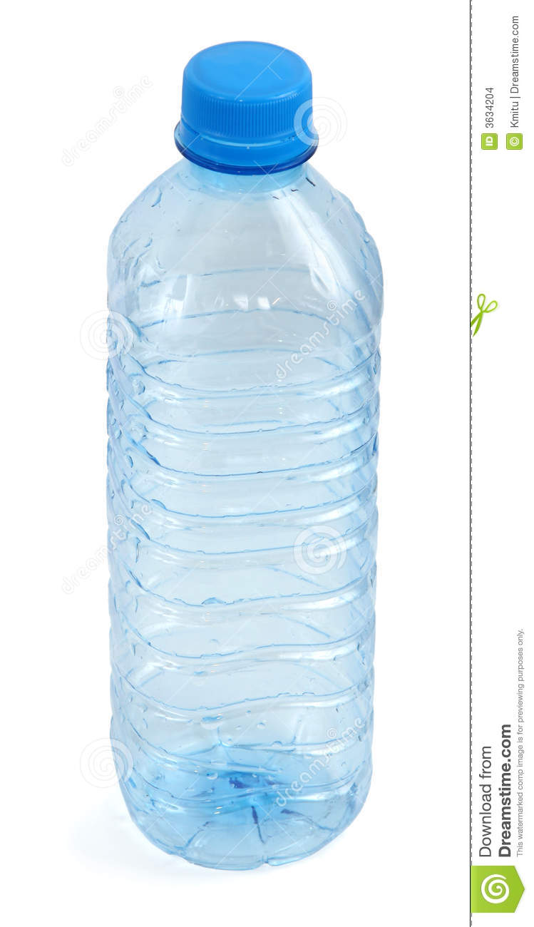 Empty bottle against white background, gentle shadow at the left side.
