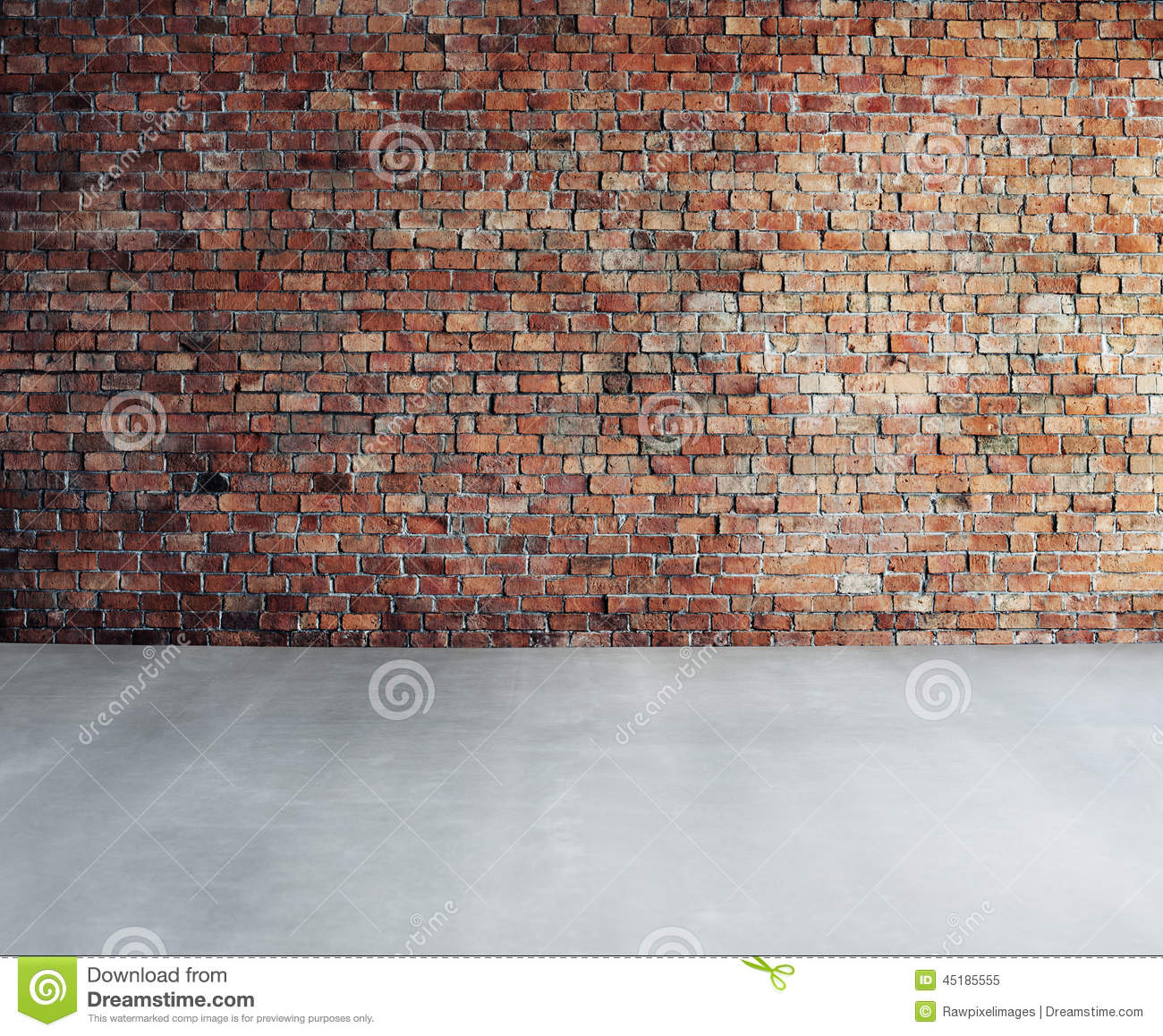 Empty Brick Wall With Concrete Floor Stock Image Image