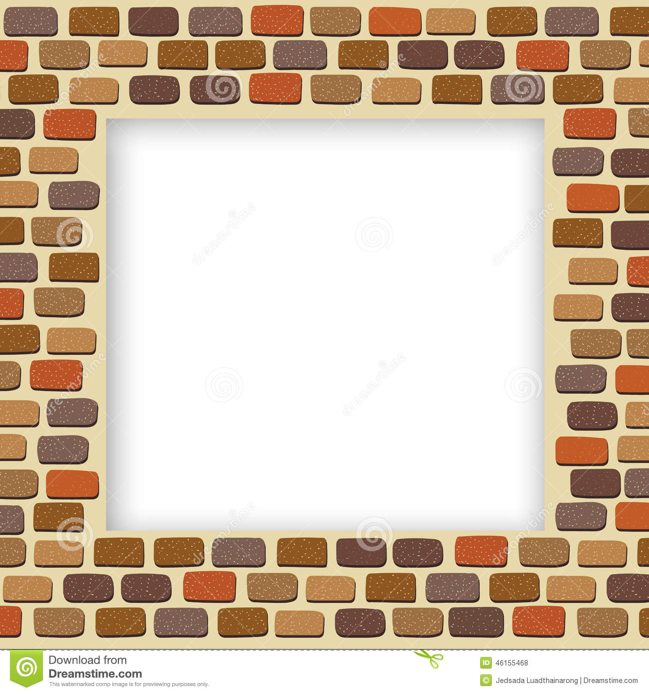 empty brick wall frame stock vector image of texture