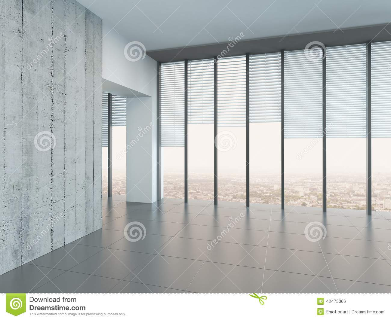 Empty bright air room with a glass wall stock illustration for Large glass wall