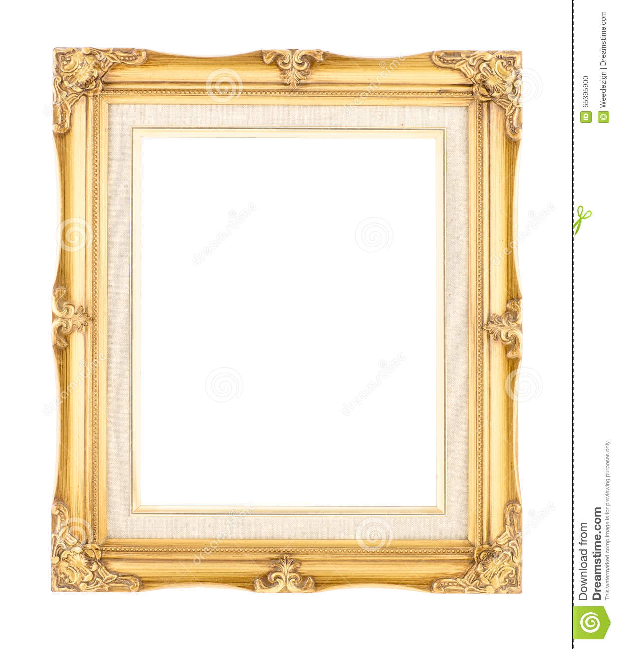Empty Bright Gold Gilded Wood With Inner Canvas Vintage Frame On ...