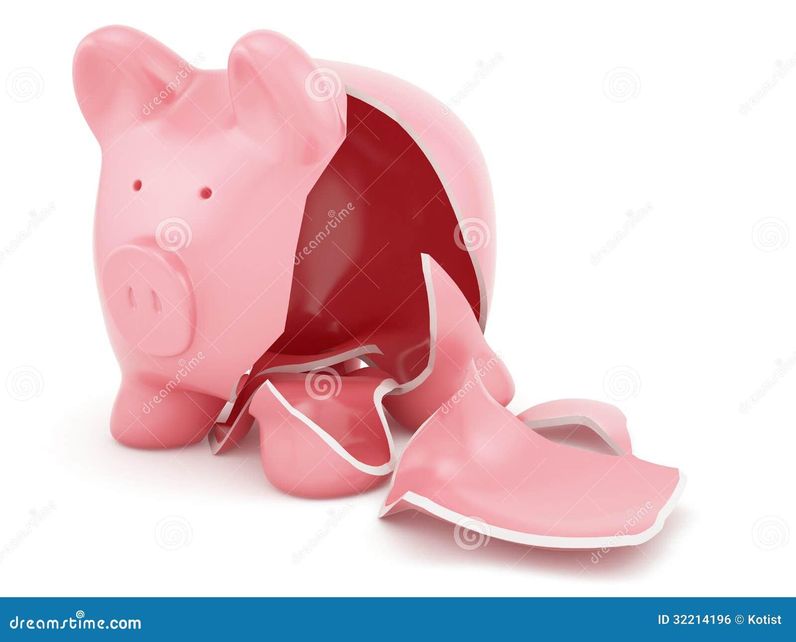 Empty broken piggy bank