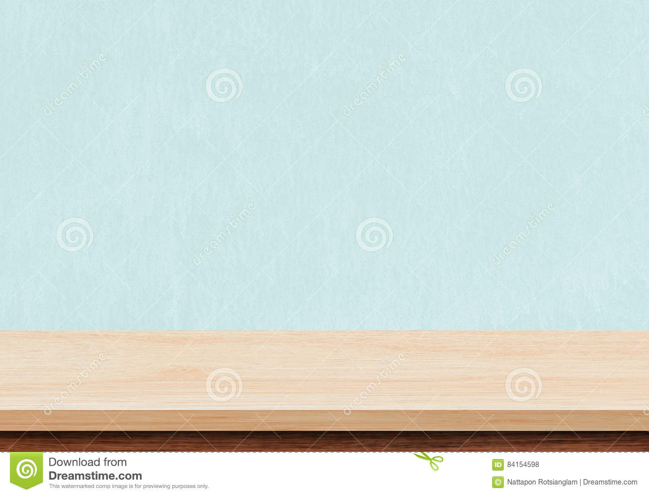 Empty brown wood table top on blue concrete background
