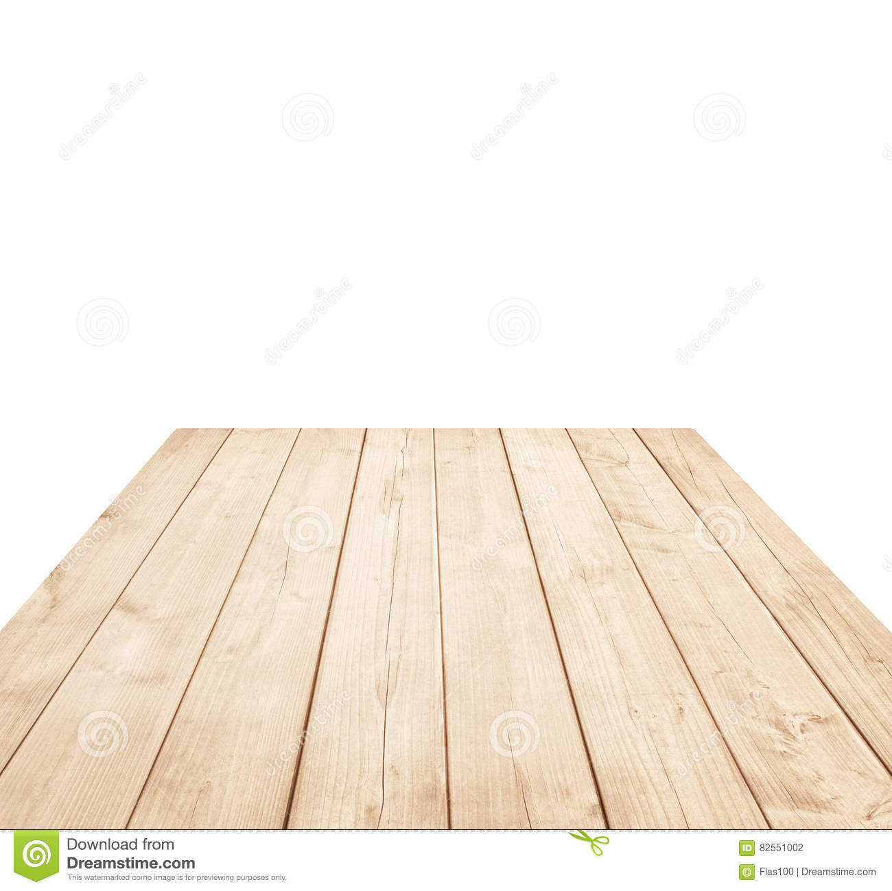 Empty brown wooden tabletop, vertical planks on white background