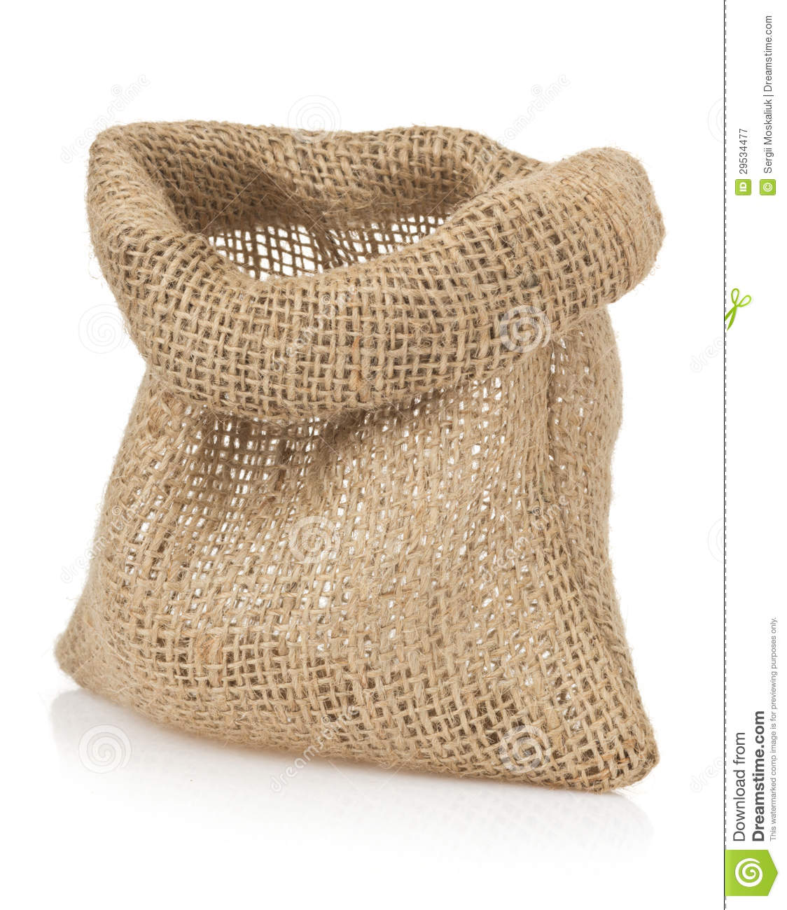 empty burlap sack bag on white stock image image 29534477. Black Bedroom Furniture Sets. Home Design Ideas