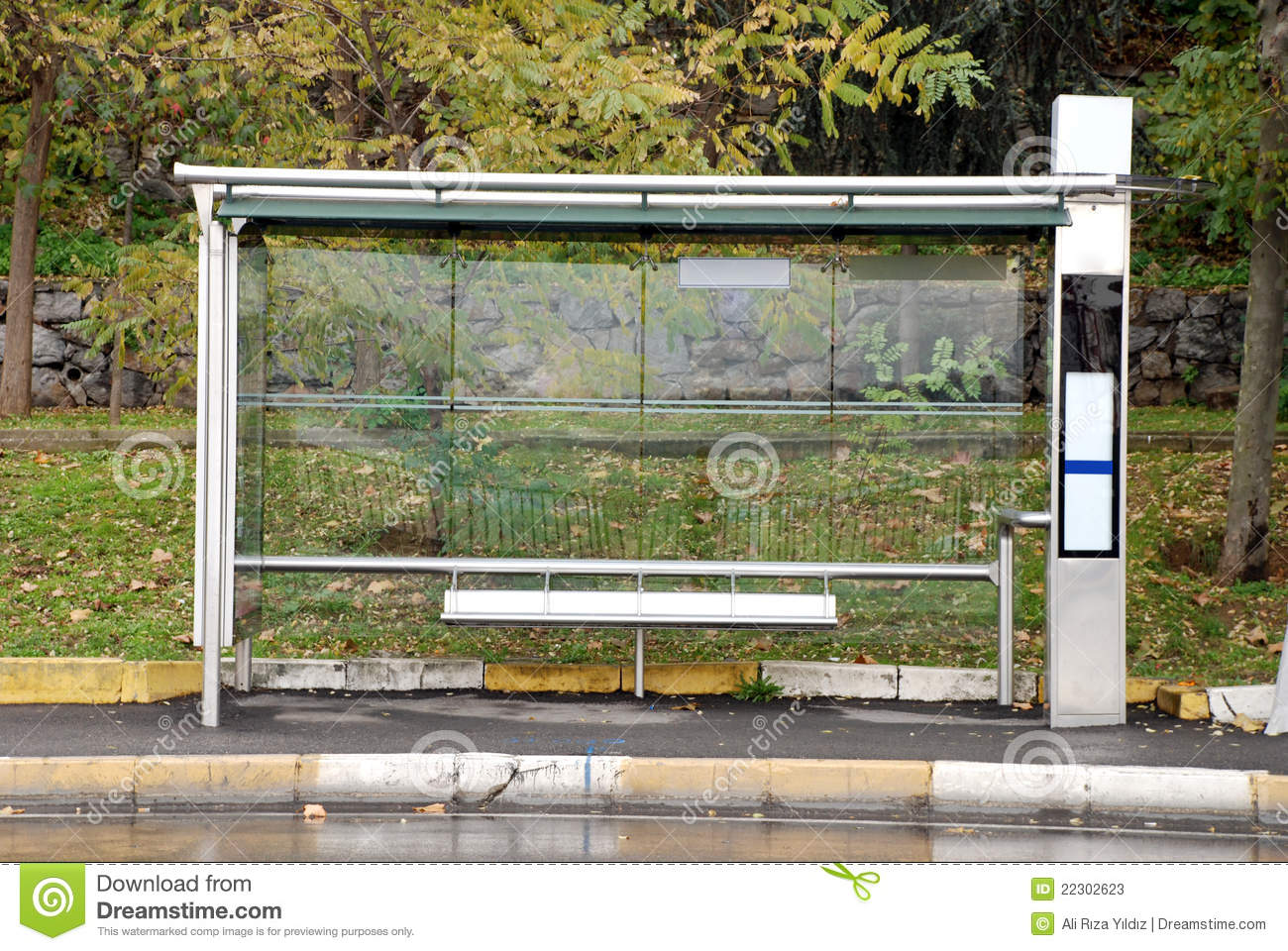 empty bus stop stock photos image 22302623 Park Setting park bench clipart